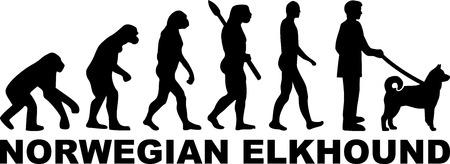 Norwegian Elkhound evolution with word in black Illusztráció