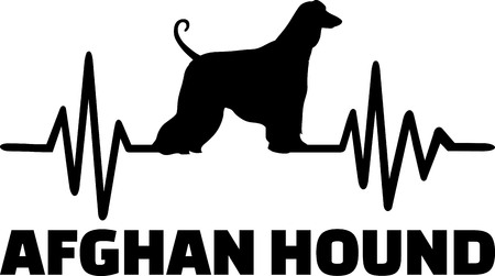 Heartbeat pulse line with Afghan Hound silhouette