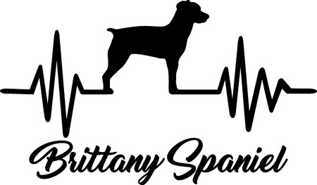 Heartbeat pulse line with Brittany Spaniel dog silhouette