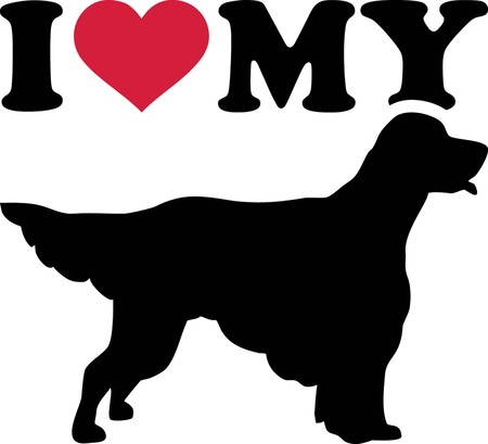 I love my English Setter with red heart and silhouette