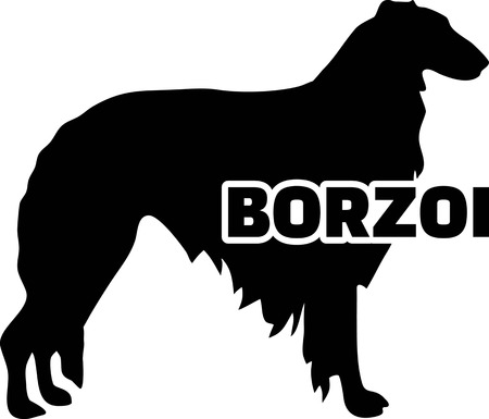Borzoi silhouette real with word Illustration