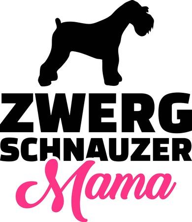 Miniature Schnauzer mom silhouette with pink word german