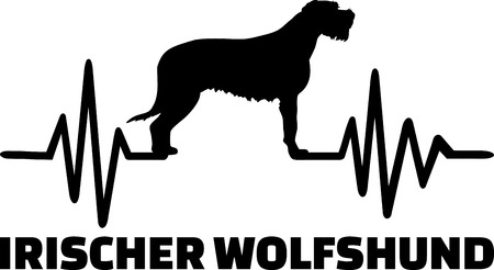 Heartbeat pulse line with Irish Wolfhound silhouette german