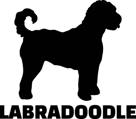 Labradoodle silhouette real with word