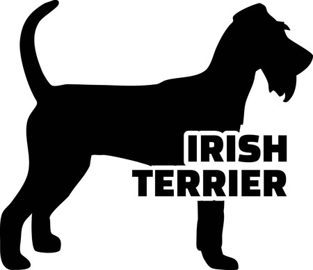 Irish Terrier silhouette real with word
