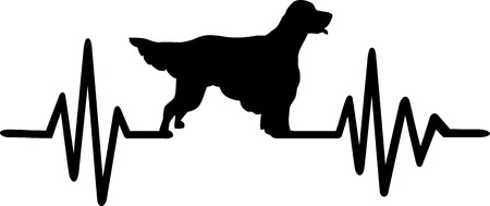 Heartbeat pulse line with English Setter dog silhouette Illustration