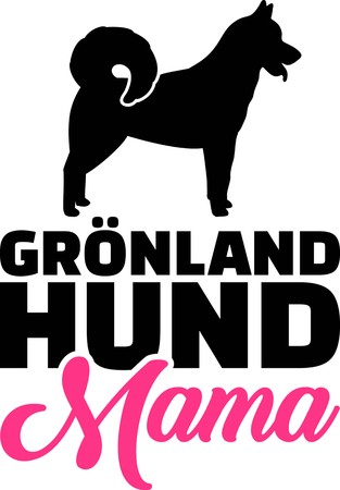 Greenland Dog mom silhouette with pink word german