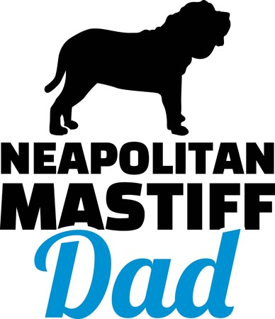 Neapolitan Mastiff dad silhouette with blue word 일러스트