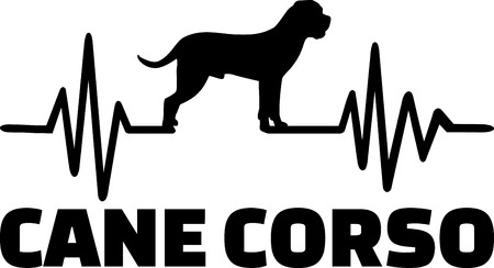 Heartbeat pulse line with Cane Corso silhouette Illustration