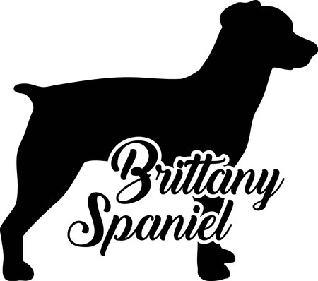 Brittany Spaniel silhouette real with word
