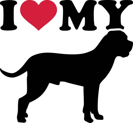 I love my Cane Corso with red heart and silhouette
