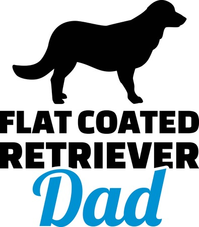 Flat Coated Retriever dad silhouette with blue word