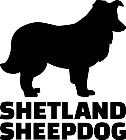 Shetland Sheepdog silhouette real with word