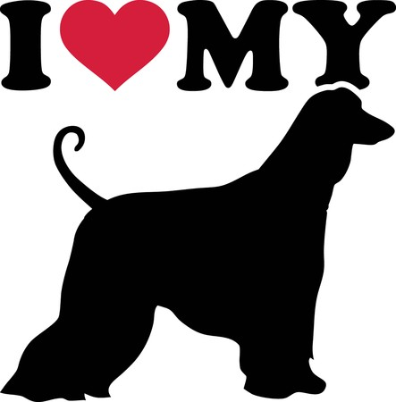 I love my Afghan Hound with red heart and silhouette Illustration