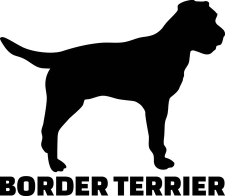 Border Terrier silhouette real with word