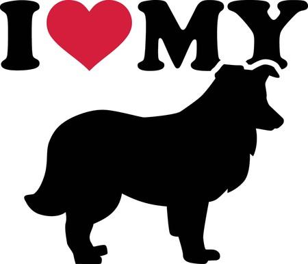 私は赤いハートとシルエットで私のシェトランドシープドッグが大好き 写真素材 - 103695739