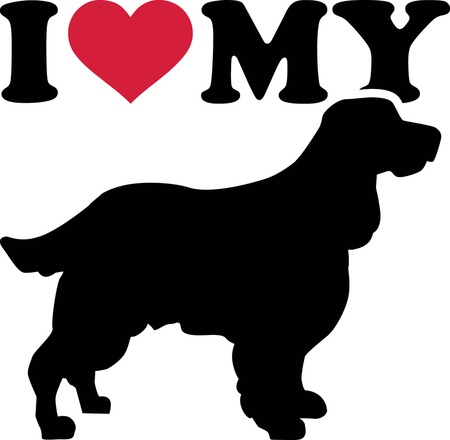 I love my English Springer Spaniel with red heart and silhouette Illustration
