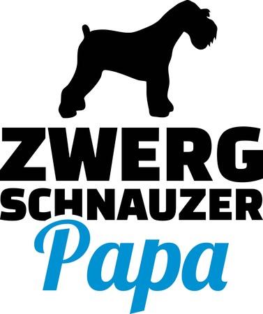 Miniature Schnauzer dad silhouette with blue word german Illustration