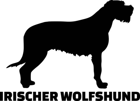 Irish Wolfhound silhouette real with word german