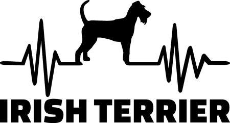 Heartbeat pulse line with Irish Terrier dog silhouette