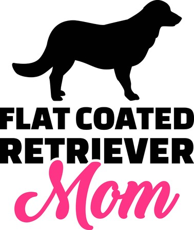 Flat Coated Retriever mom silhouette with pink word