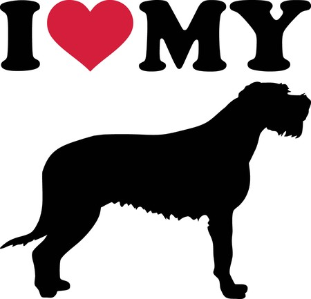 I love my Irish Wolfhound with red heart and silhouette Illustration