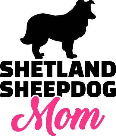 Shetland Sheepdog mom silhouette with pink word