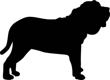 Neapolitan Mastiff silhouette real in black