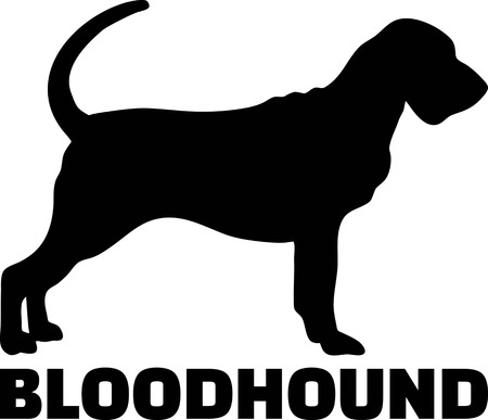 Bloodhound silhouette real with word