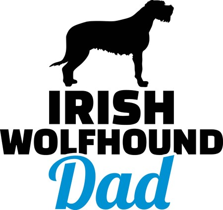 Irish Wolfhound dad silhouette with blue word