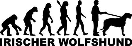 Irish Wolfhound evolution with word in black german Illustration