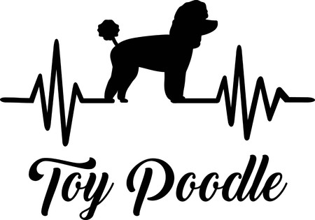 Heartbeat pulse line with Toy poodle dog silhouette