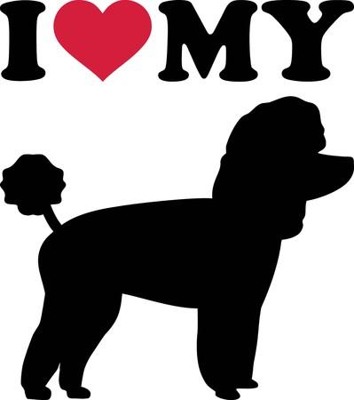 Amo a mi caniche de juguete con corazón rojo y silueta Ilustración de vector