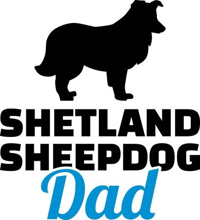 Shetland Sheepdog dad silhouette with blue word