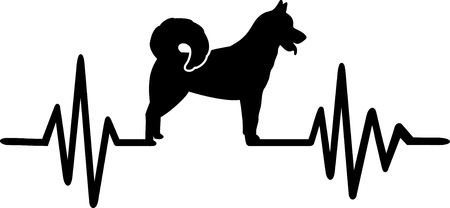 Heartbeat pulse line with Greenland Dog silhouette Vectores