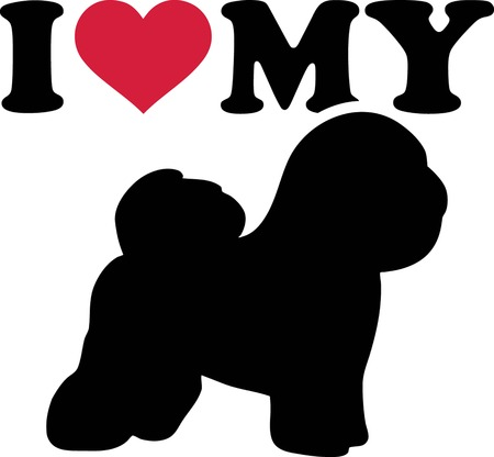 I love my Bichon Frise with red heart and silhouette