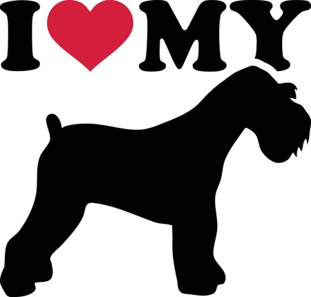 I love my Miniature Schnauzer with red heart and silhouette 向量圖像