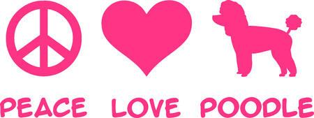 Peace love Poodle slogan in pink Vectores