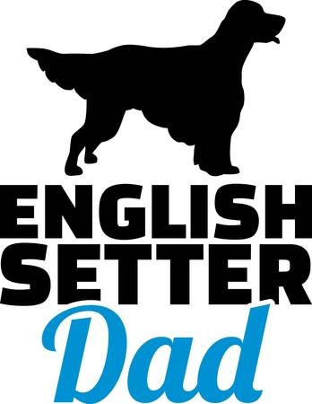 English Setter dad silhouette with blue word