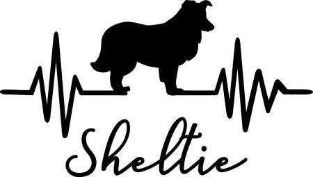 Heartbeat pulse line with Shetland Sheepdog Sheltie silhouette
