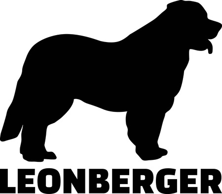 Leonberger silhouette real with word Ilustrace