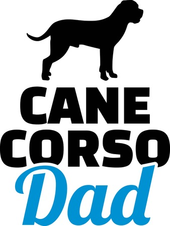 Cane Corso dad silhouette with blue word