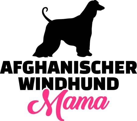 Silueta de mamá lebrel afgano con alemán palabra rosa
