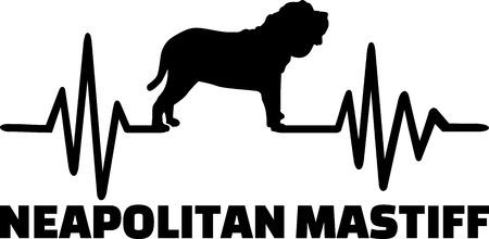 Heartbeat pulse line with Neapolitan Mastiff dog silhouette