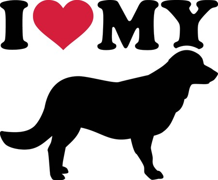I love my Flat Coated Retriever with red heart and silhouette Illusztráció