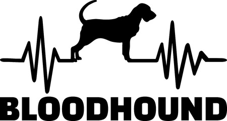 Heartbeat pulse line with Bloodhound dog silhouette