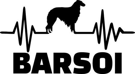 Heartbeat pulse line with Borzoi silhouette german Illustration