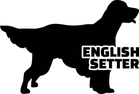 English Setter silhouette real with word