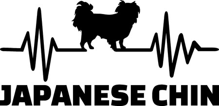 Heartbeat pulse line with Japanese Chin dog silhouette