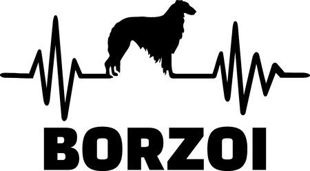 Heartbeat pulse line with Borzoi silhouette